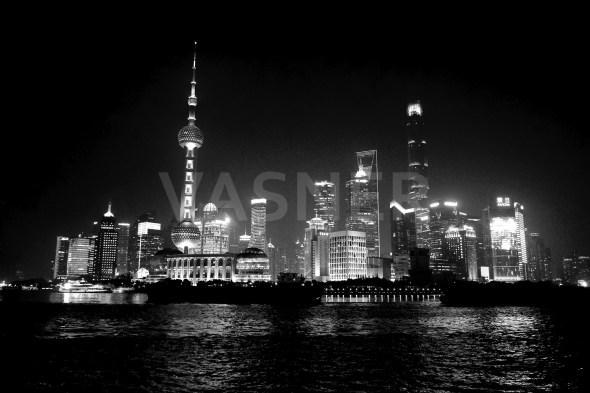 Glas Bildheizung Infrarot VASNER Panora mit Shanghai Finance SW Motiv