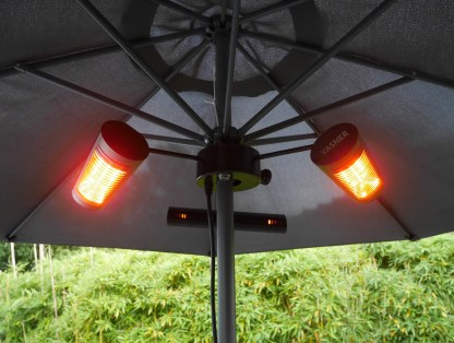 Outdoor umbrella heater with ultra low glare tube for immediate warmth