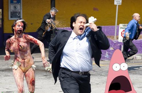Patricio en un apocalipsis zombie