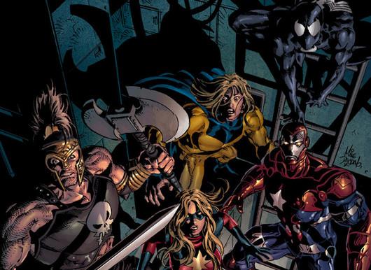 Los Vengadores Oscuros viendo el partido en la tasca del barrio