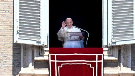 Pope during his Regina Coeli prayer