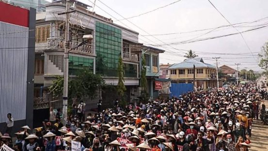 A demonstration against the military coup in Myanmar's Shan State