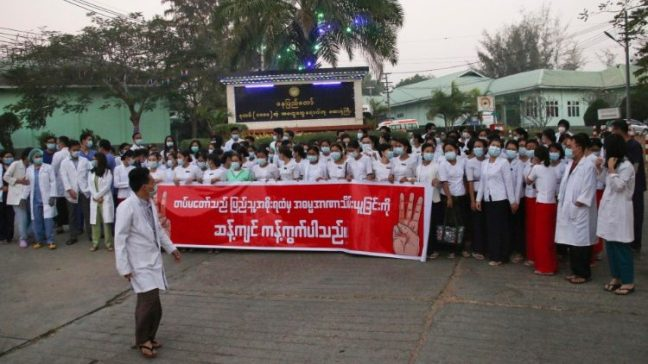Medical workers in Myanmar join nationwide strike after military coup