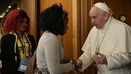File photo of Pope Francis meeting participants in conference on human trafficking (11 April 2019)