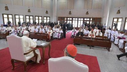 Pope Francis meeting Thai and FABC member bishops in Bangkok, Thailand Nov. 22, 2019.