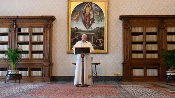 Pope Francis during the Regina Caeli
