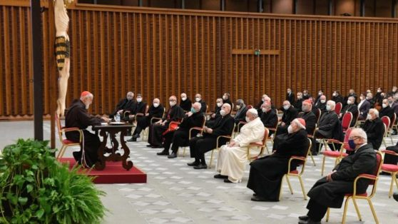 Pope Francis and the Roman Curia listen to Cardinal Cantalamessa's first Advent sermon