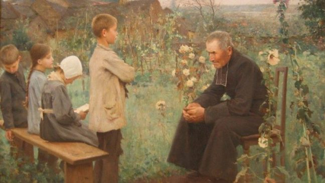 """Once entrusted to priests, catechesis is now becoming more and more the responsibility of the laity. (Image: """"The Catechism Lesson"""" by  Jules-Alexis Muenier, 1890)"""