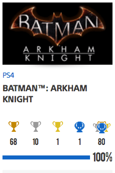 100% trophées Batman Arkham Knight