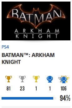 Progessison trophées Batman Arkham Knight