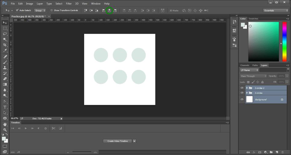 Center Align of Adobe Photoshop