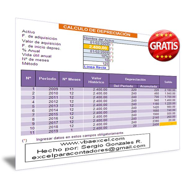 Plantilla en Excel de CALCULO DE DEPRECIACIÓN – VBA Excel, Macros en ...