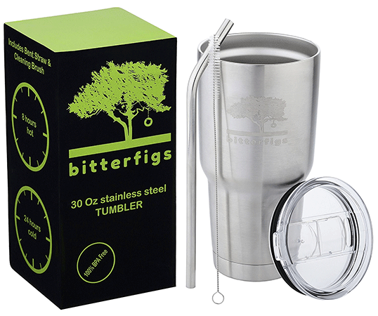 Bitterfigs Stainless Steel Tumbler Vacuum Insulated Cup 30 oz