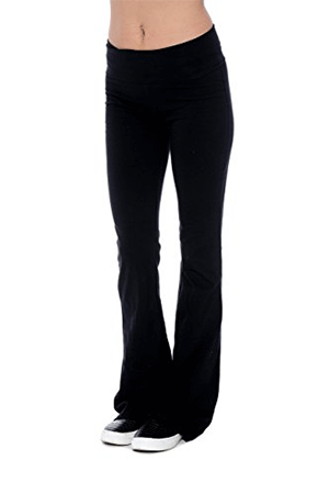 Unique Styles Fold-Over Waistband Stretchy Yoga Pants