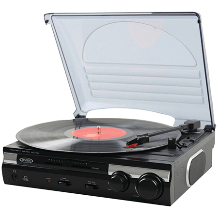 The 3-Speed stereo turntable by Jensen in black