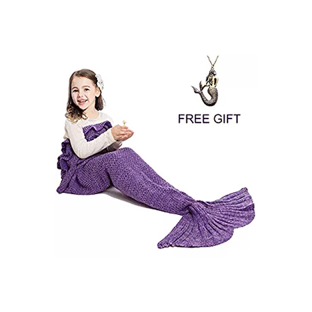 Mermaid Tail Blanket for Kids Hand Crochet Snuggle
