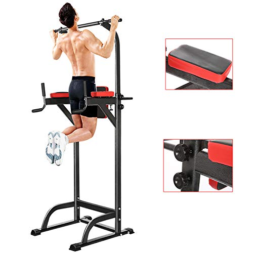 Hurbo Power Tower Pull Up Bar Stand Adjustable Abs Workout Fitness Equipment Home Gym