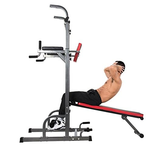 ZELUS Multifunctional Power Tower Workout Pull Up Dip Station Tower with Sit up Bench for Indoor Home Gym Fitness Dip Stand