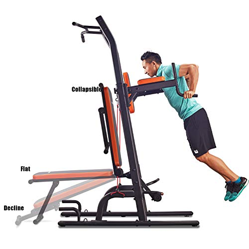 HARISON Multifunction Power Tower with Bench Home Gym Exercise Equipment, Dip and Pull up Station