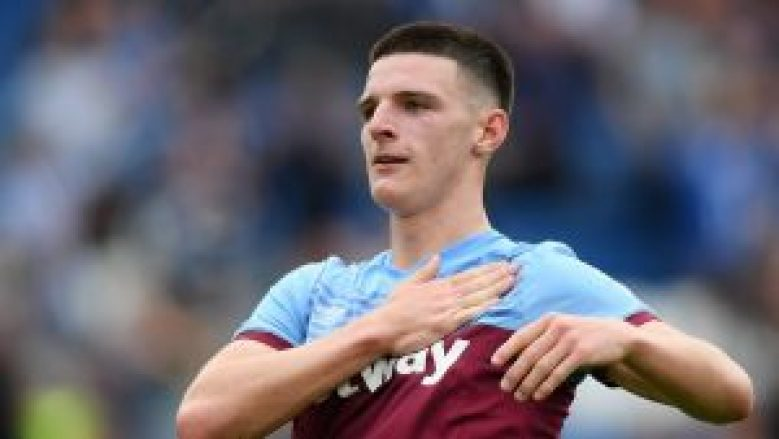 Declan Rice in action for West Ham United