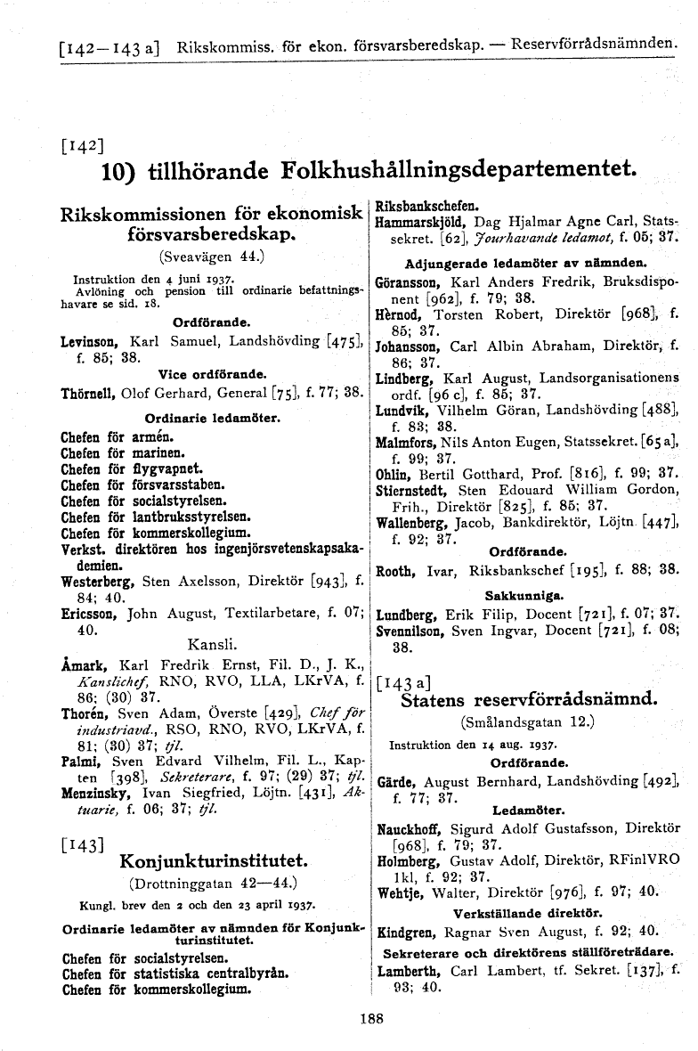 Swedish Statskalender 1942, showing the organization of the Rikskommissionen för Ekonomisk Försvarsberedskap (The Swedish Commission for Economic Defense Readiness) (left column). At the same time, Jacob Wallenberg was a member of the Konjunkturinstitutet (The National Institute of Economic Research), while Walter Wehtje was a member of the Statens Reservförrådsnämnd (The National Agency for Reserve Goods), http://runeberg.org/statskal/1942/0188.html)