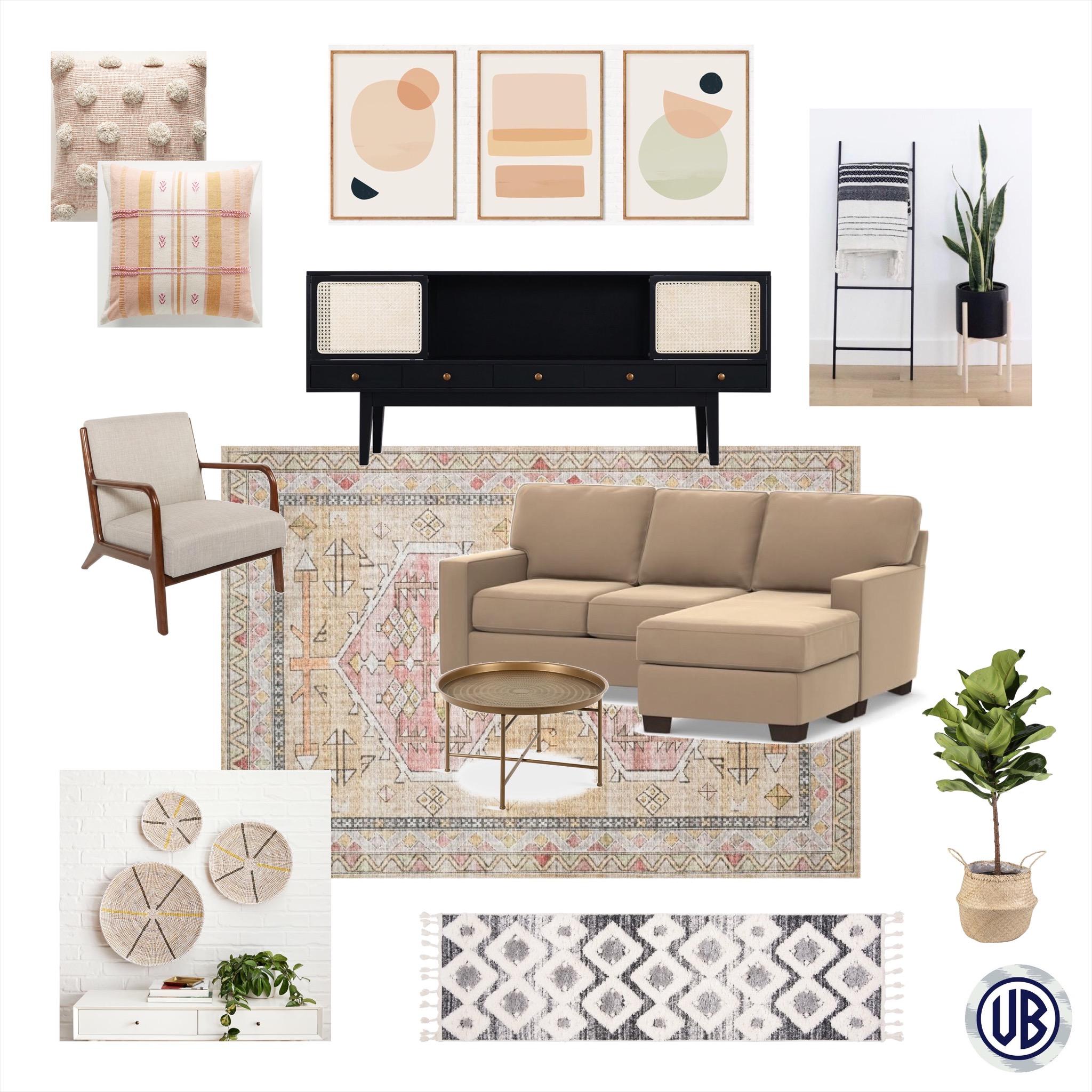 Modern Bohemian Living Room E Design Veronica Bradley Interiors