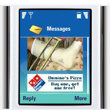 A banner ad for Domino's Pizza appearing below an MMS message