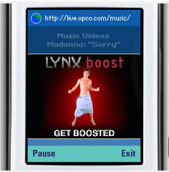 A video ad for Lynx appearing before a Madonna music video