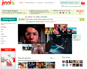 Jinni video recommendations homepage