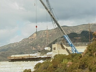 An 8-ton chunk of the Matilija dam is symbolically removed in October of the year 2000. This would be the only action taken on the dam as funding would fail to materialize in the coming years.