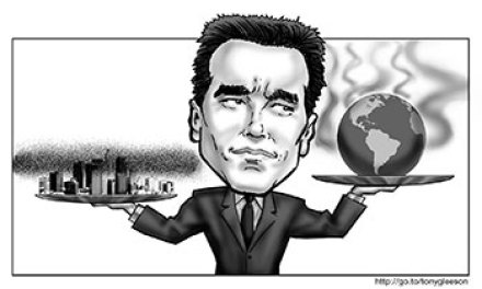 Arnold takes a swing at global warming