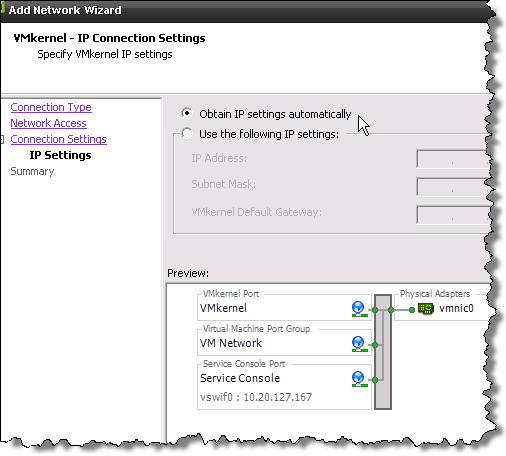 New feature in vSphere 4 - VMware ESX 4 allows DHCP for VMkernel