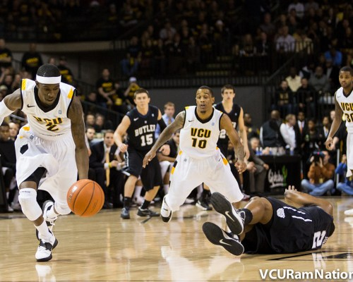 Briante Weber steals the ball from Butler's Roosevelt Jones in a blowout win (84-52) at the Siegel Center (2013)