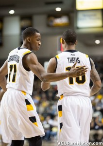 Darius Theus scored 22 points including a coast-to-coast layup that sent the game into overtime.