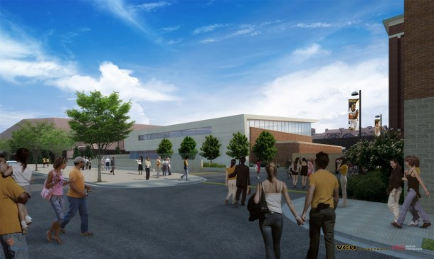 Rear view of VCU's new practice facility overlooking Marshall Street.