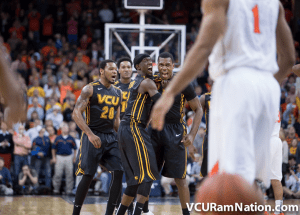 Treveon Graham celebrates after hitting one of the most memorable shots in VCU history to defeat UVA in Charlottesville.