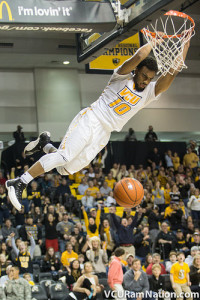 Johnny Williams brings the crowd to its feet with a breakaway dunk in tonight's rout of ETSU.