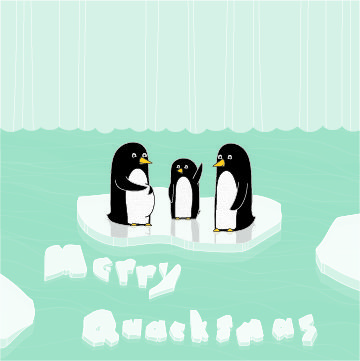Three penguins on an iceberg