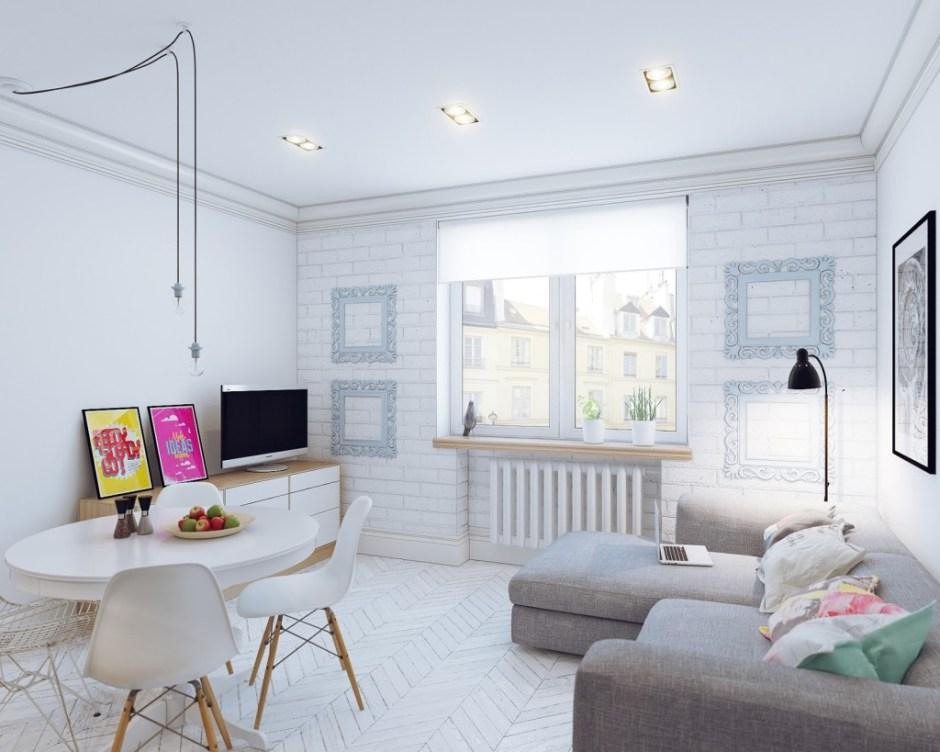 arredamento in stile nordico: le immagini del soggiorno bianco con il divano grigio