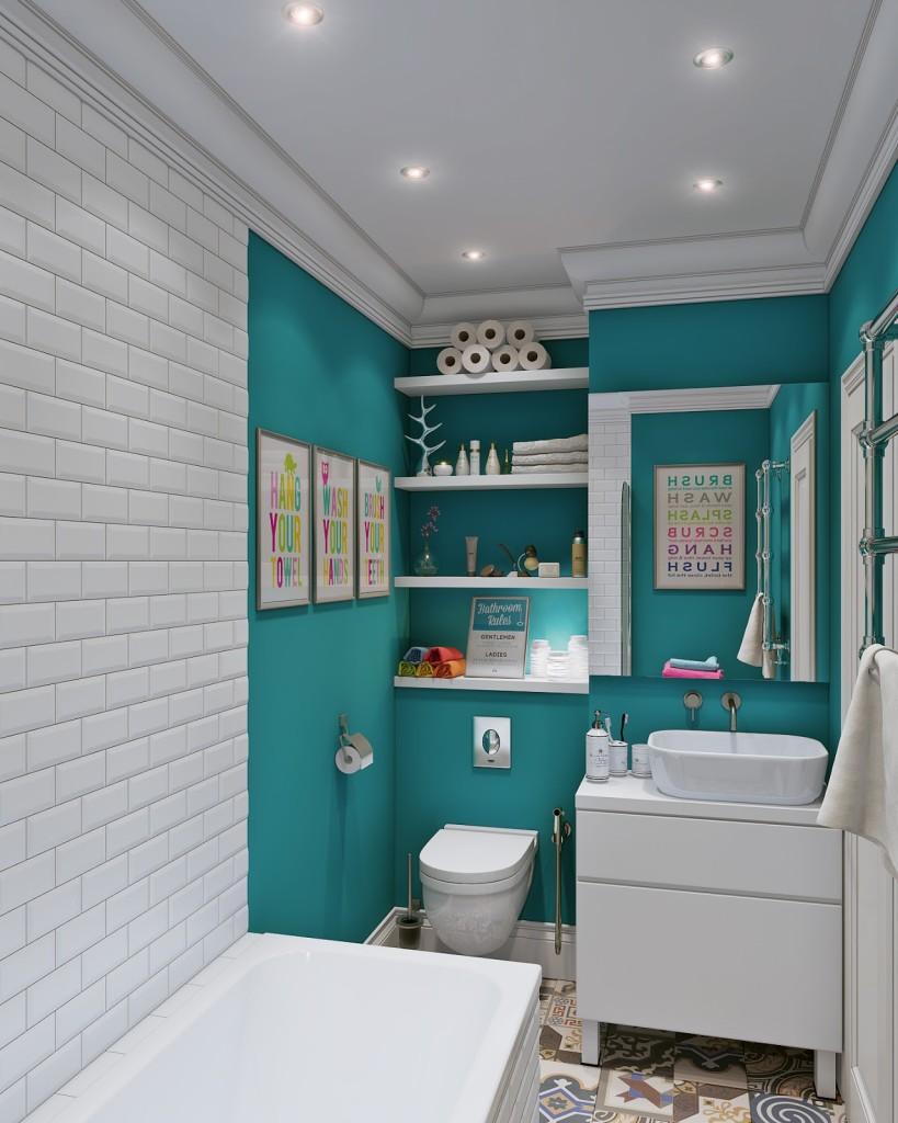 bagno con dettaglio della vasca, parete di fondo con water con mensole e mobile lavabo