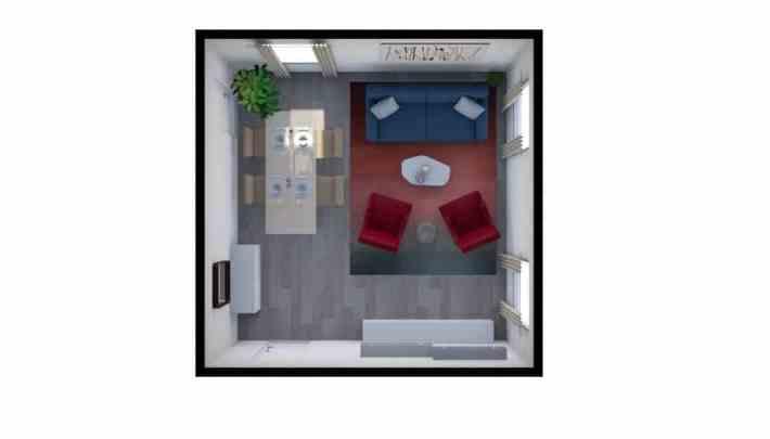 Pianta quadrata di un soggiorno arredato in stile contemporaneo nei colori rosso e blu.