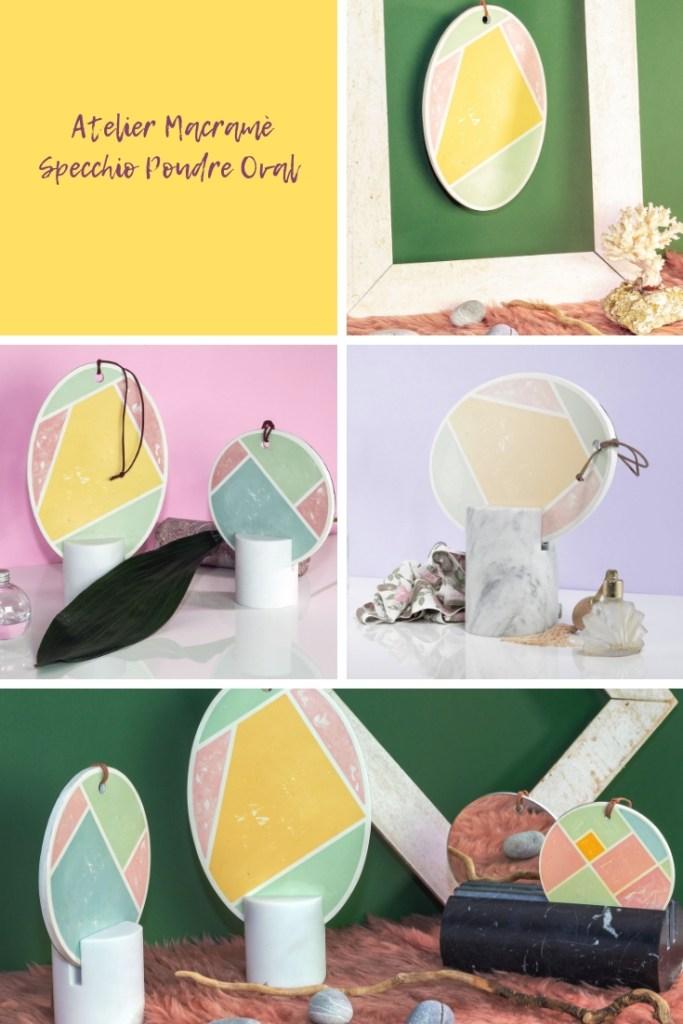 Salone del Mobile di Milano 2019 e lo specchio Poudre Oval di Atelier Macramé con decori geometrici in colori pastello e base in marmo di Carrara
