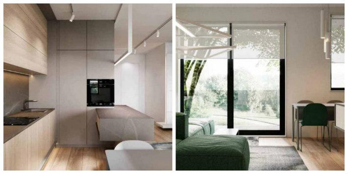 Cucina e soggiorno in un unico ambiente con cucina con basi e pensili in due finiture aperta sul soggiorno con divano verde