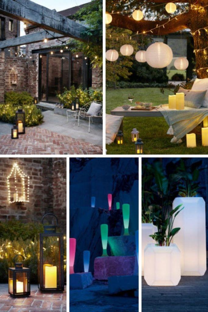 Illuminare correttamente la terrazza con ghirlande di luci, lampade di carta, lanterne e vasi da esterno illuminati