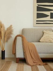 materiali ecosostenibili per il design in soggiorno con divano grigio e tappeto a righe