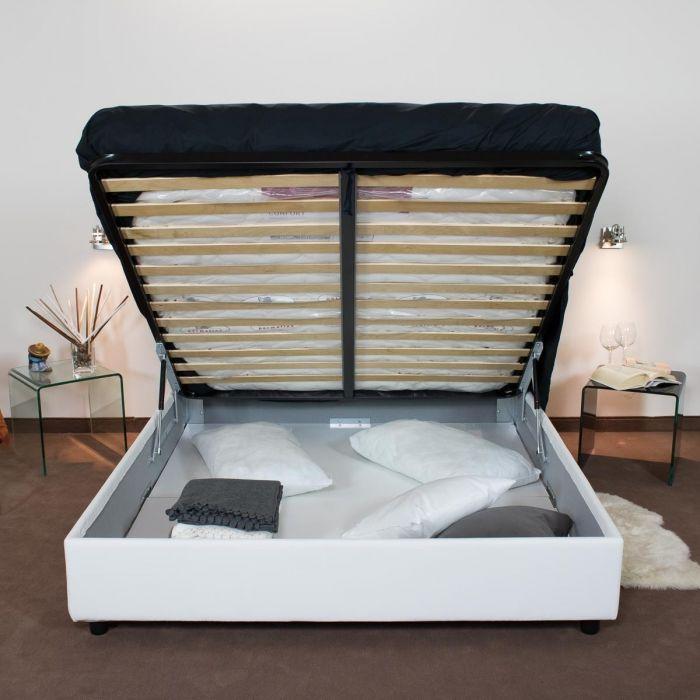 letto con contenitore e apertura a ribalta
