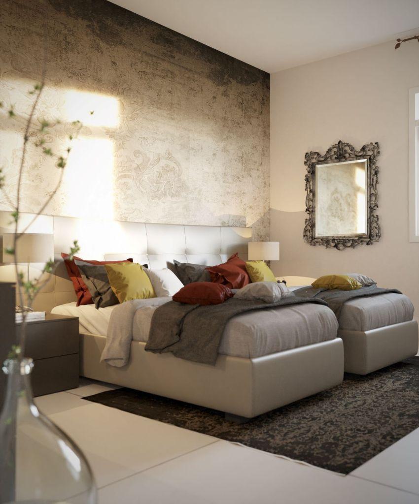 camera da letto con letti singoli bianchi, cuscini gialli e carta da parati materica