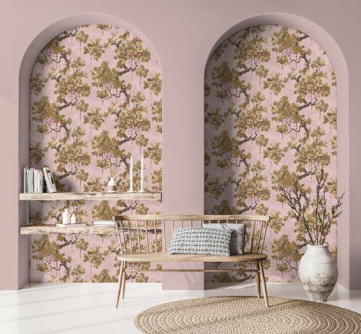 soggiorno con parete ad arco in rosa, carta da parati floreale e panca in rovere