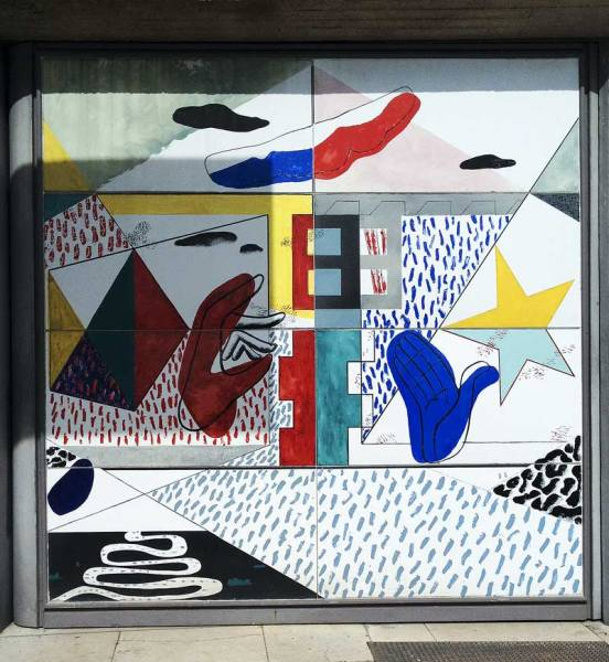 enamel painting by Le Corbusier on the main entrance door