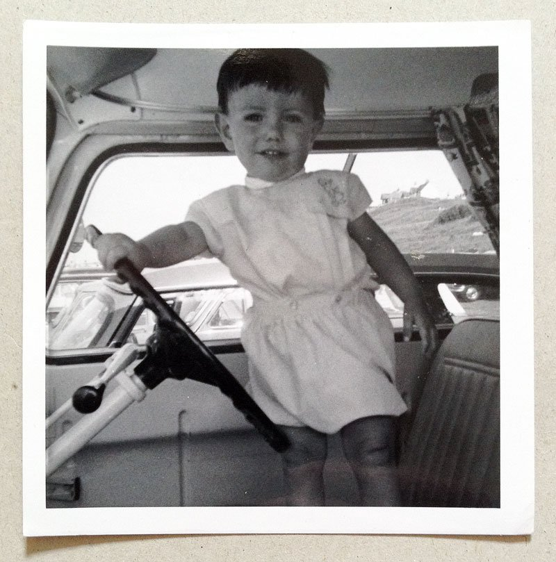 at the wheel of my first Commer camper van